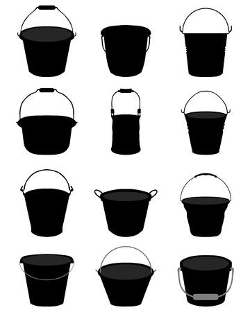 pail: Black silhouettes of garden pail on a white background