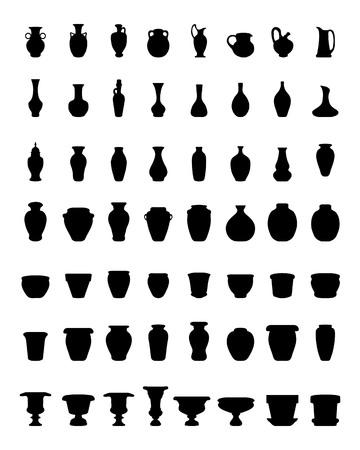 Sagome nere di ceramiche, vasi, ciotole e vasi