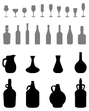 Siluetas de cuencos, botellas, vasos sobre un fondo blanco Foto de archivo - 80489737