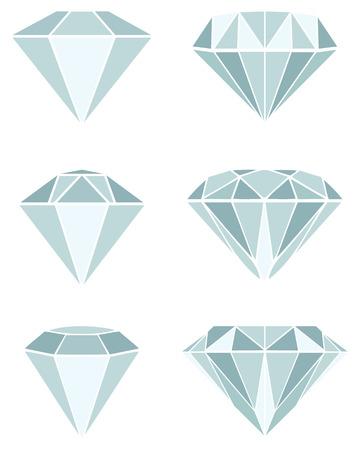 diamond stones: Different diamond illustration on a white background