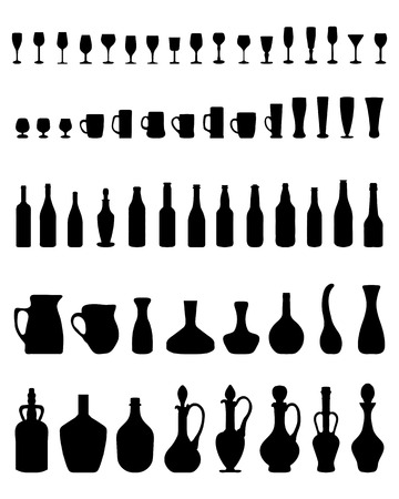 Silhouettes of bowls, bottles, glasses on a white background Stock Vector - 82309696