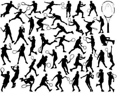 Black silhouettes of tennis players on a white background