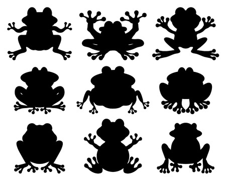Black silhouettes of frogs on a white background Ilustrace