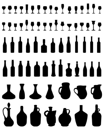 Silhouettes of bowls, bottles and glasses on a white background