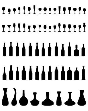 Sagome di ciotole, bottiglie e bicchieri su uno sfondo bianco