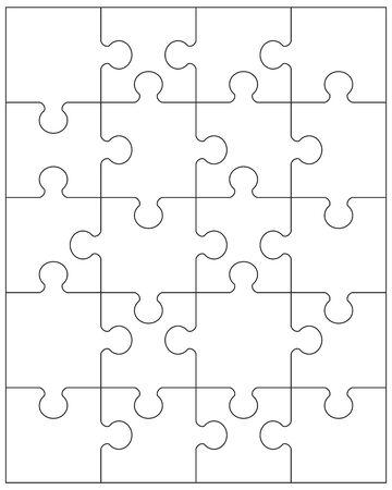 Illustration de pièces séparées de puzzle blanc