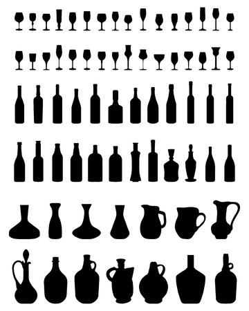Silhouettes of bowls, bottles and glasses on a white background Stock Vector - 100517023