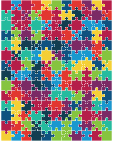 Separate pieces of big colorful puzzle, illustration