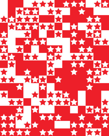 Seamless pattern with red and white stars