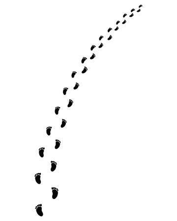 Spur von Babyfüßen, rechts oder links abbiegen