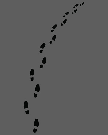 Trail of shoes prints on a gray background Illustration
