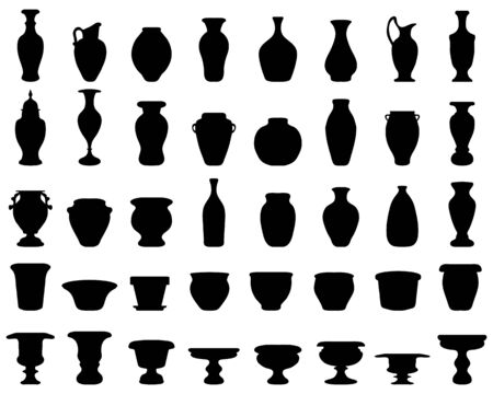Black silhouettes of pottery, jars, bowls and vases