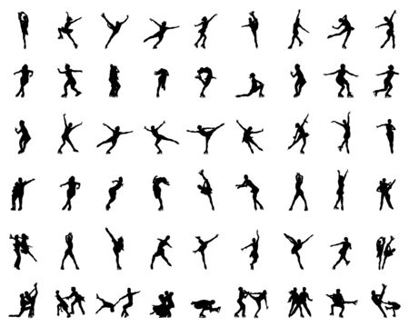Silhouettes of figure skaters on a white background Çizim