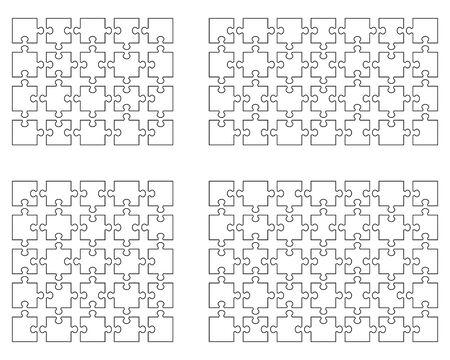 Ilustración de vector de cuatro rompecabezas blancos diferentes, piezas separadas