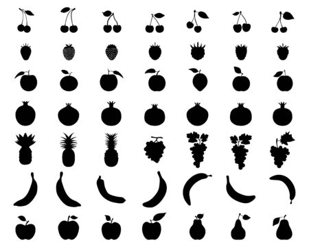 Silhouettes of fruit,vector icon set for web and mobile Imagens - 131867767