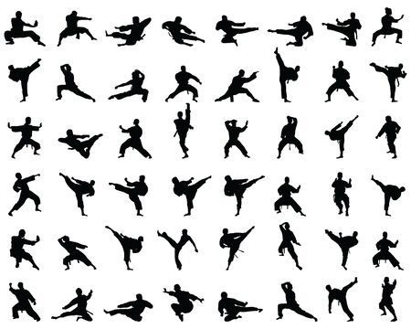 Black karate silhouettes on the white background Ilustrace