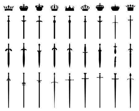 Black silhouettes crowns  and swords on a white background
