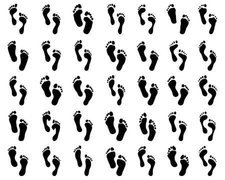 Black prints of human feet on a white background