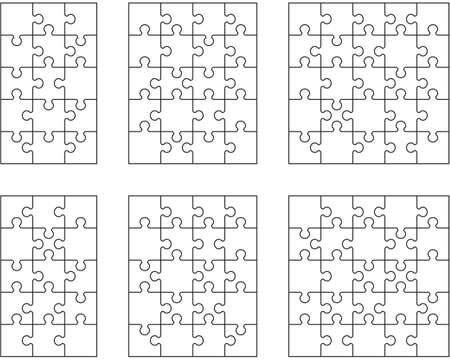 Illustration of six white puzzles, separate parts
