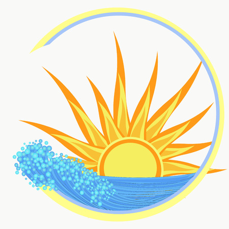 yellow sun sunset on the sea illustration illustration