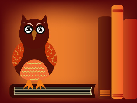 owl sitting on a pile of books illustration illustration
