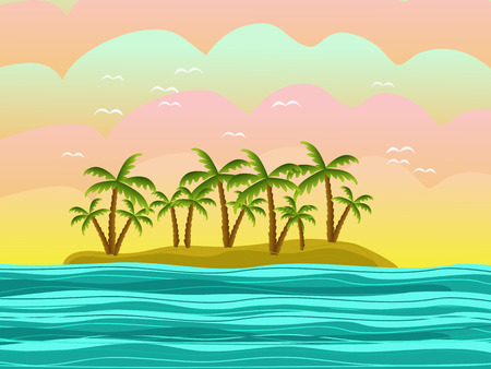 island with green palms illustration Vector