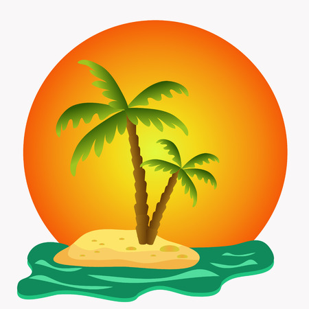 island with green palms illustration illustration