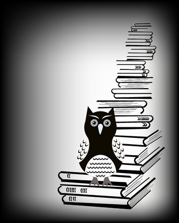 owl sitting on a pile of books black and white illustration illustration