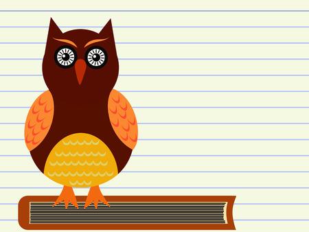 owl sitting on a pile of books illustration illustration