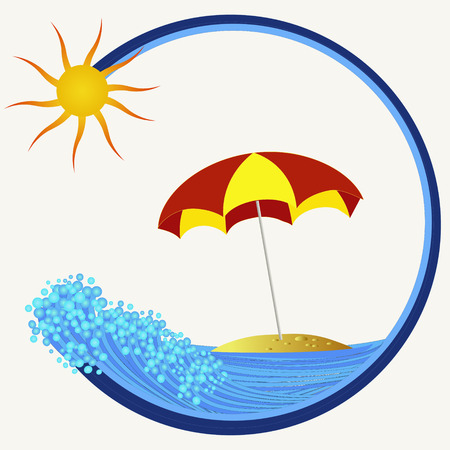 sun illustration: island with colorful umbrella and sun illustration Illustration