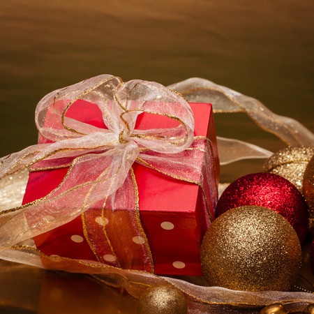 red gift box: red gift box with shiny ribbon