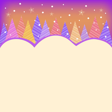 adorning: colorful trees greeting card illustration