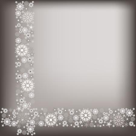 adorn: tarjeta de felicitaci�n de la Navidad con copos de nieve gris adornan Vectores