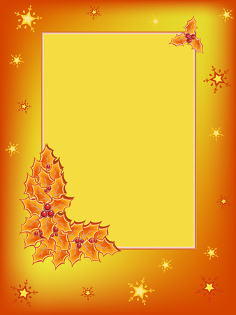 yellow holly plant on orange postcard Vector