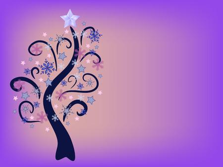 christmas tree illustration: pink christmas snowflake tree illustration