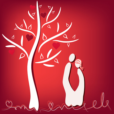 amor: couple in love under tree with hearts illustration Illustration