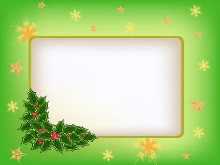 holly plant on greeting card Vector