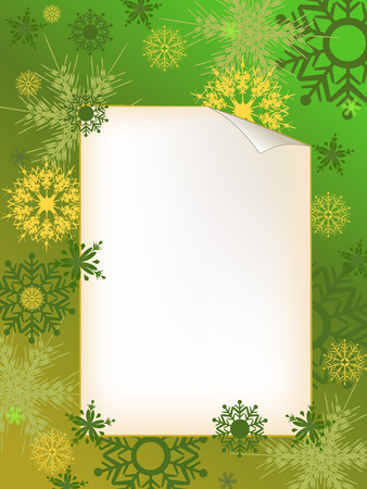 adorning: green invitation letter with snowflake adorn