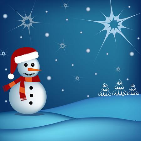 winter scene: happy snowman in  winter scene