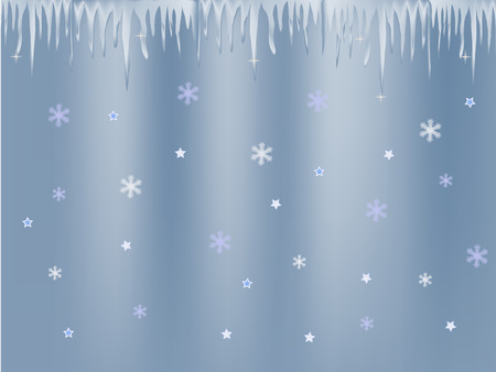 icicle: white blue icicle and snowflakes on blue background Illustration