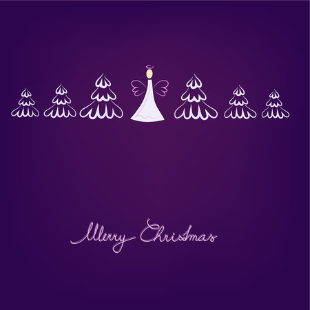 angel and trees on violet background Vector