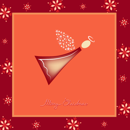 cute red angel illustration greeting card Vector