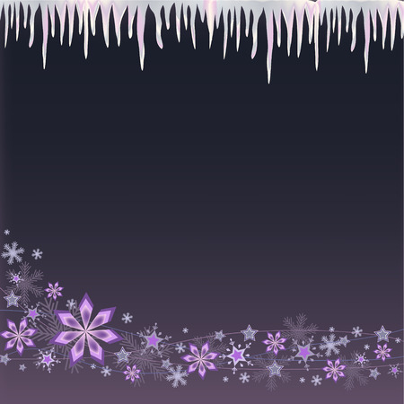 white blue icicle and snowflakes on pink purple background
