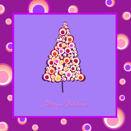 modern colorful christmas tree illustration greeting card Vector