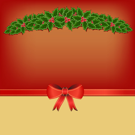 adorning: red yellow christmas greeting card with green and red christmas holly and ribbon