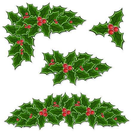 christmas holly: christmas holly decoration set illustration Illustration