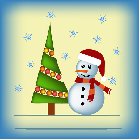 christmas tree illustration: snowman and christmas tree illustration Illustration