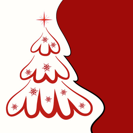christmas invitation: christmas background with red christmas trees
