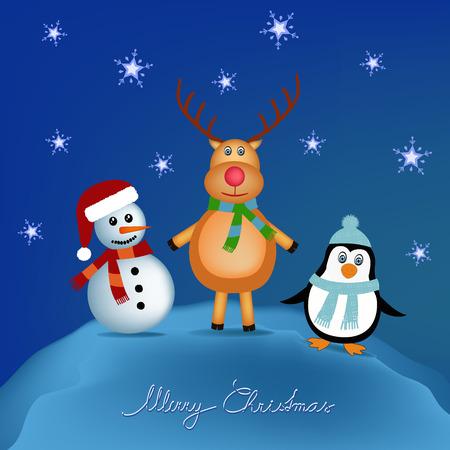 snowman, reindeer and penguin cartoon illustration Vector