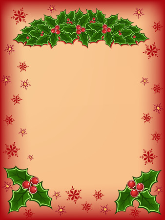Merry christmas card with red and green holly illustration Vector